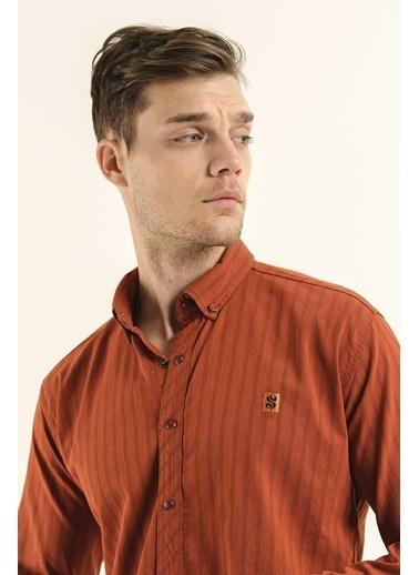 Oksit Leroy Slim Fit Çizgi Detaylı Erkek Gabardin Gömlek Kiremit